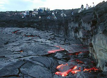 lava and visitors at Volcano National Park